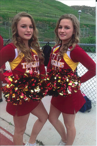 Sandy Beatty''s twin grand daughter cheerleaders.