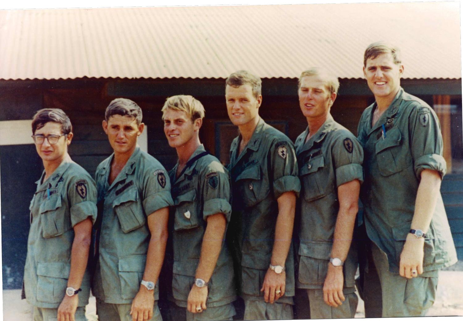 Rick Whitaker (second from right) with West Point classmates in Vietnam, 25th Infantry Division, March 1971