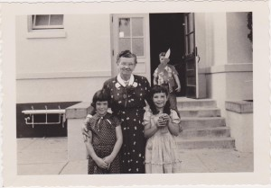 Phyllis and Bonnie Lockhart with Miss McVey Hoover School