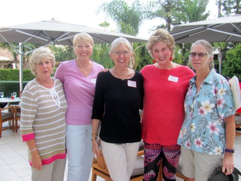 Cathy, Jane, Barbara B, Barbara T, Karen catch up at Marriott