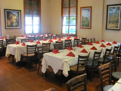Tables at Prego's BEFORE Arline Radillo Greene arrived