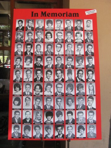 Photos of deceased classmates.
